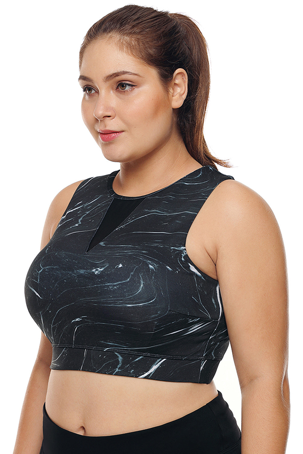 Black Mesh Insert High Neck Plus Size Sport Bra