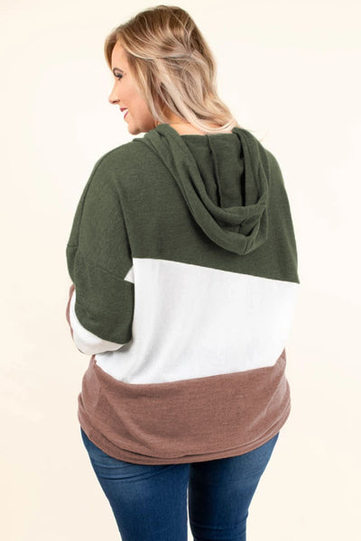 Green Lucky Break Color Block Plus Size Hoodie