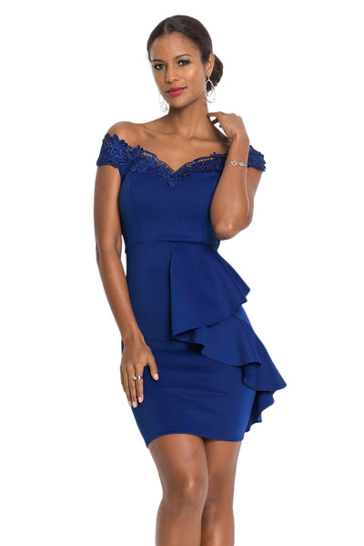 Blue Embroidered Off Shoulder Neck Cascading Mini Dress