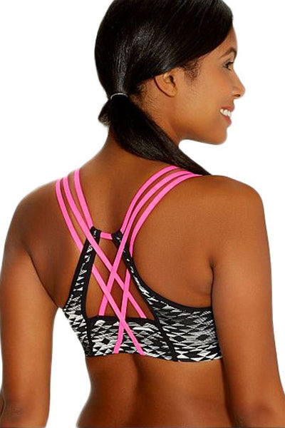 Black Ethnic Print Sport Bra with Neon Straps