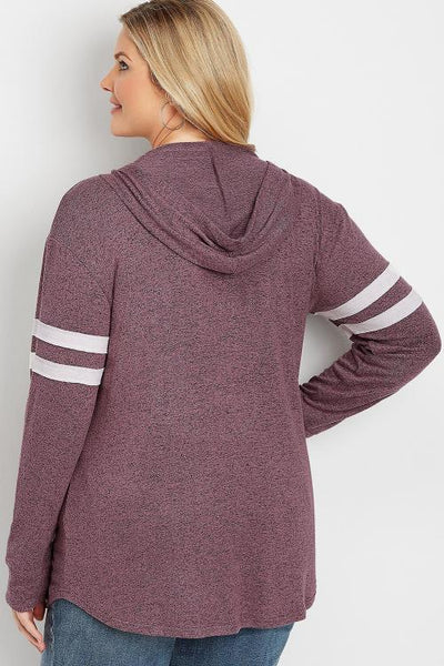 Purple Plus Size Long Sleeve Pul Hoodie
