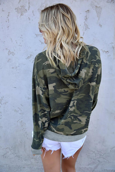Green Camo Print Pullover Hoodie
