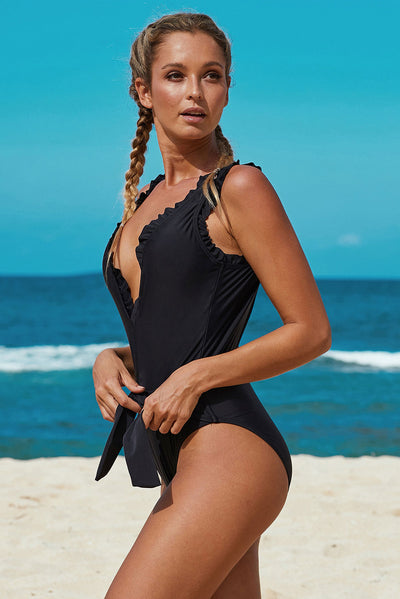 Black Deep V Neck Frill Detail One-piece Swimwear with Belt