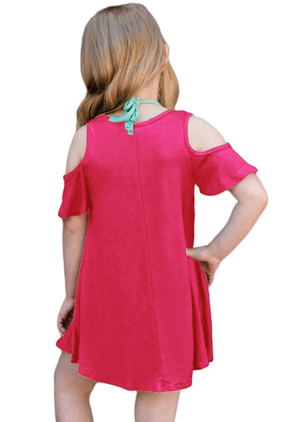Rosy Ruffle Cold Shoulder Dress for Little Girls