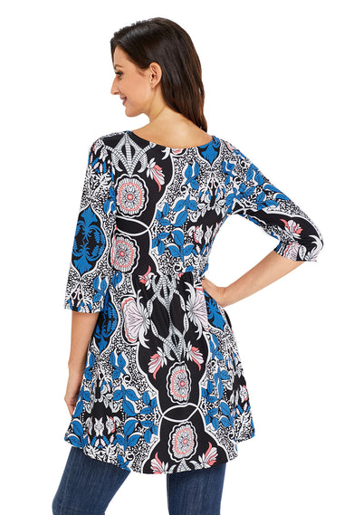 Abstract Mottled Leaf Print Black Elegant Long Top | Women Clothing Qatar