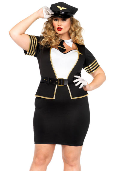 5 Pieces Plus Size Mile High Pilot Costume