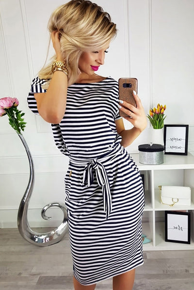 Black Stripes Pocketed T-shirt Dress with Belt