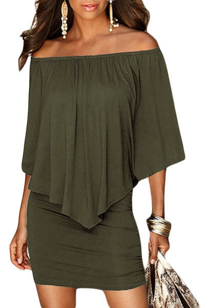 Multiple Dressing Layered Army Green Mini Poncho Dress