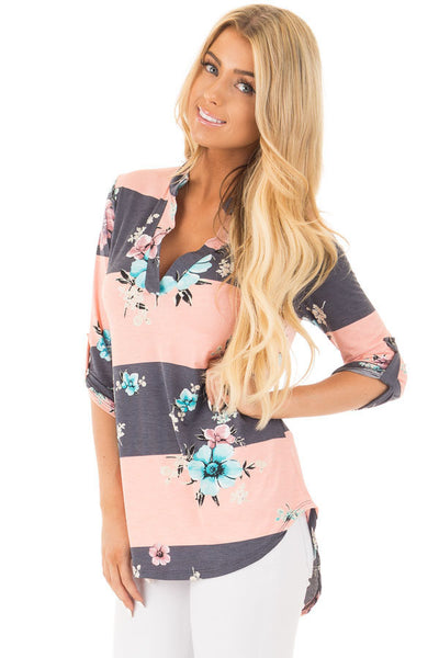 Blush Charcoal Striped Floral Print Split V Neck Tunic