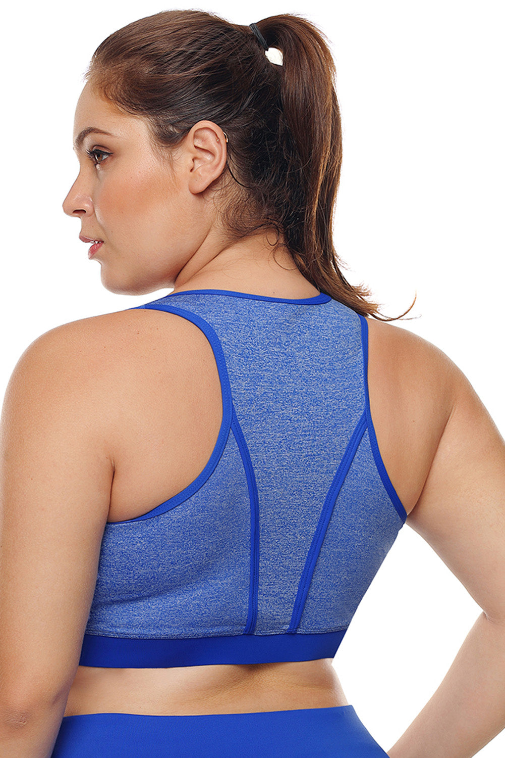 Heathered Royal Blue Piping Trim Racerback Workout Bra