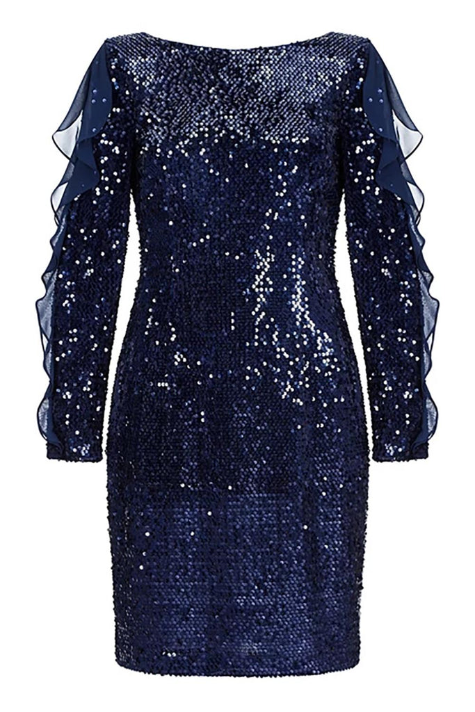 Sequin Frilled Long Sleeve Knee Length Dress