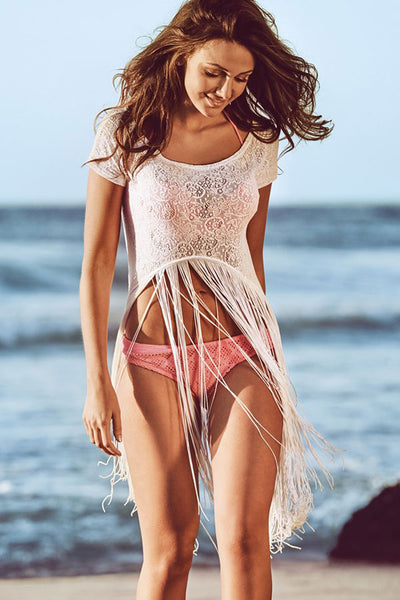 White Lace T-shirt Sexy Fringed Beachwear