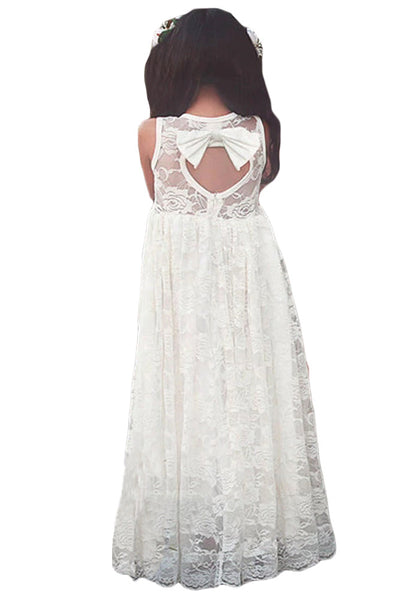White Sleeveless Rose Lace Flower Girl Dress