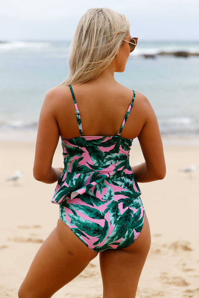 2pcs Green Leaf Print Pink Flounce Tankini Swimsuit | Women Clothing Qatar