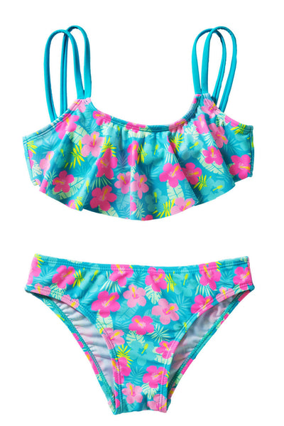 Girls' Ruffle Flower Print Two Piece Swimsuit Set