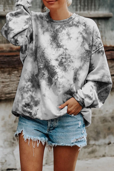 Gray Tie-dyed Round Neck Sweatshirt