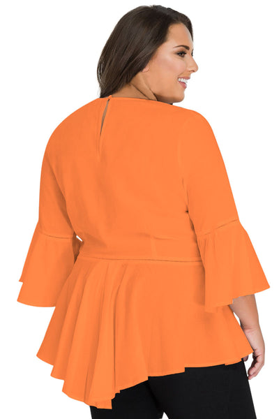 Orange Crochet Insert Bell Sleeve Plus Size Top