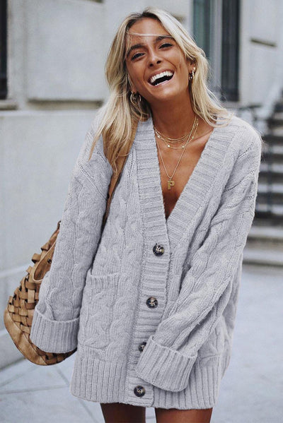 Gray Open Front Button Down Knit Cardigan Coat