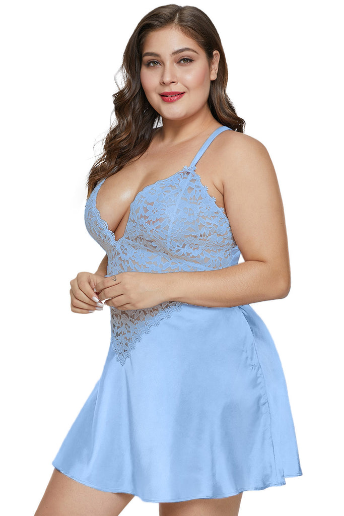 Sky Blue Plus Size Satin and Lace Chemise Set