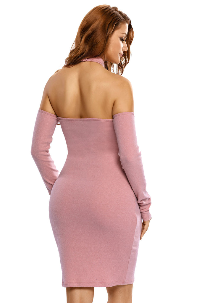 Pink Knit Ribbed Choker Off Shoulder Dress