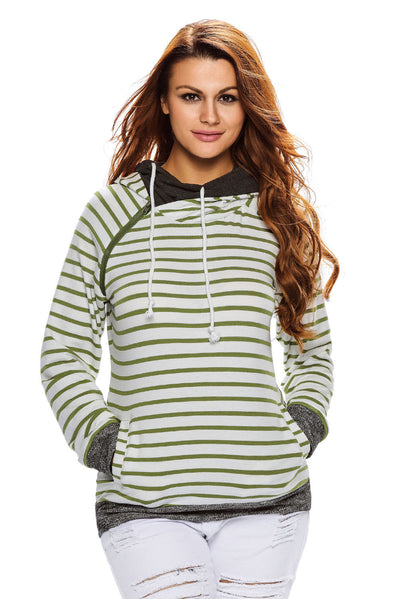 Olive White Stripe Double Hooded Sweatshirt