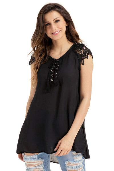 Black Lace Sleeves Lace up Tunic Top