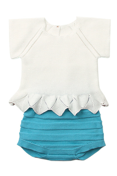 White Blue Short Sleeve T-shirt with Panty Baby Suit