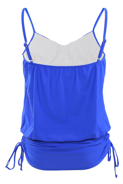 Blue Spaghetti Strap Tankini Swim Top
