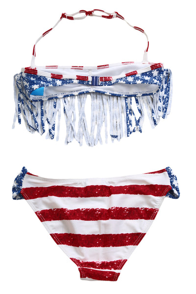 Fringed American Flag Bikini Swimsuit for Girls