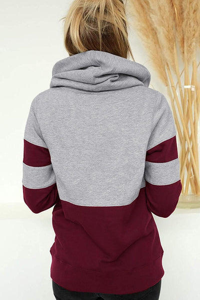 Red Color Block Long Sleeve Crewneck Pul Hoodie