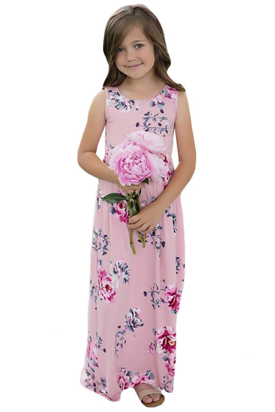 Pink Floral Print Sleeveless Little Girl Maxi Dress
