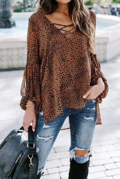 Brown Lantern Sleeve Lace Up Blouse