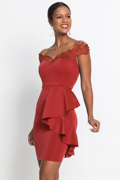 Red Embroidered Off Shoulder Neck Cascading Mini Dress