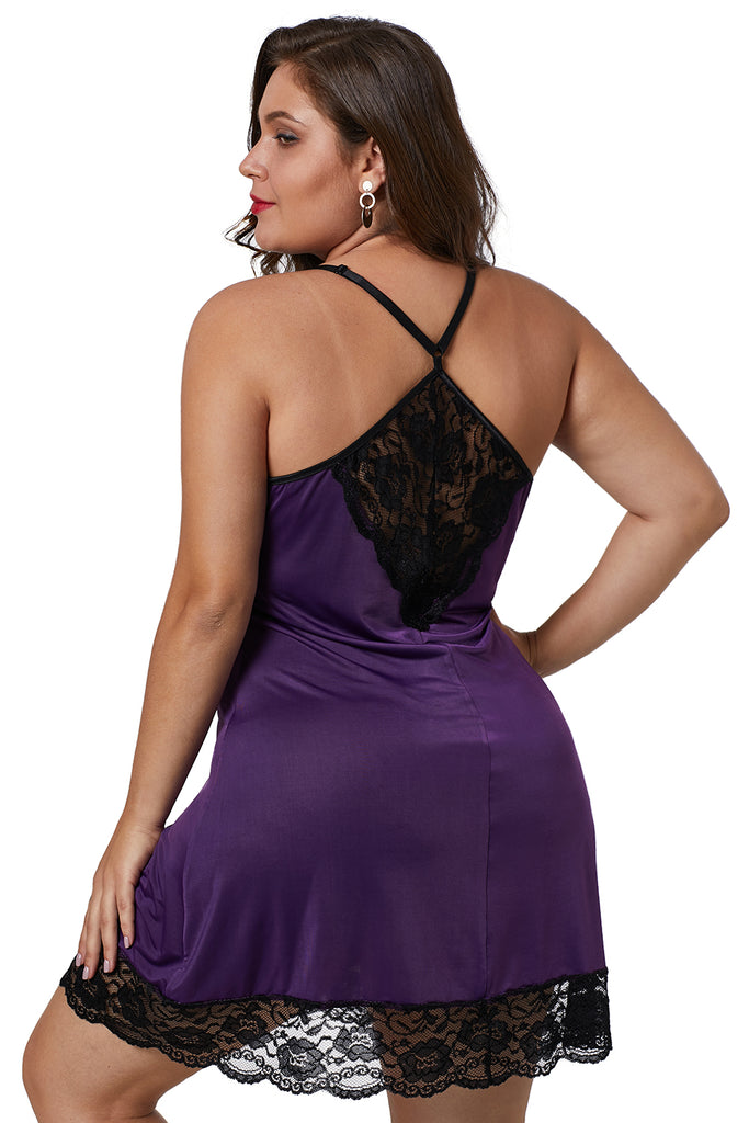 Purple Venecia Chemise with Lace Trim