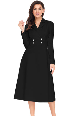 Black Vintage Button Collared Fit-and-flare Dress