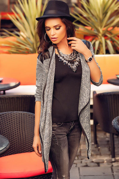 Leather Shoulder Patch Asymmetric Cardigan
