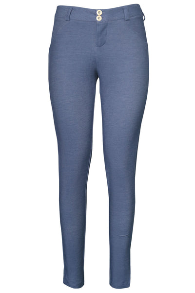 Shaping Effect Skinny Bluish Denim Jersey Pants