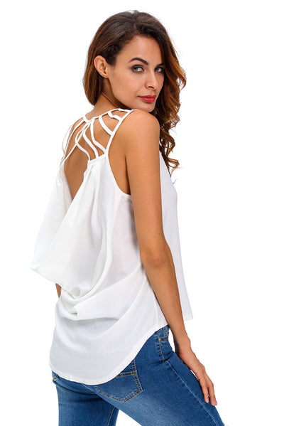 White Cut out Draped Back Clubwear Top