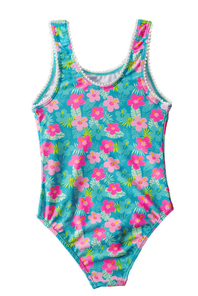 Little Girl's Flower Print One Piece Swimsuit