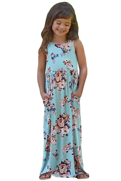 Light Blue Floral Print Sleeveless Little Girl Maxi Dress