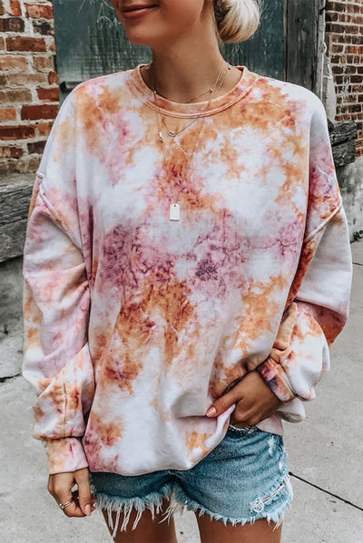 Multicolor Tie-dyed Round Neck Sweatshirt