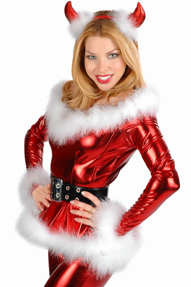 4PC Fluffy Santa Girl Costume in Red | Women Clothing Qatar