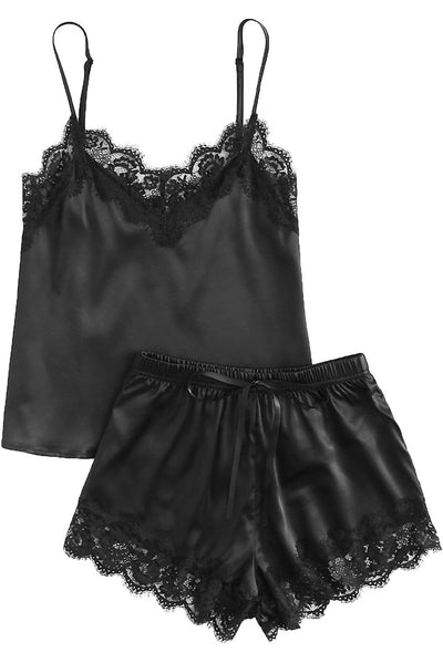 Black Lace Satin Sleepwear Cami Top and Shorts Pajama Set