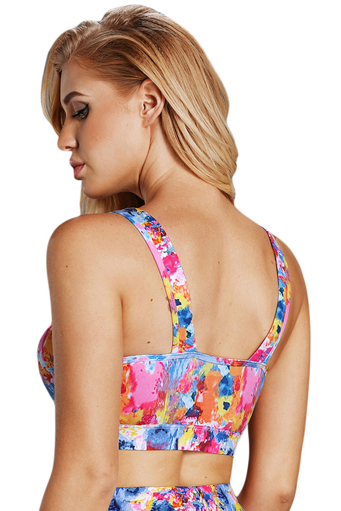 Abstract Painting V Neck Sport Bra with Keyhole | Women Clothing Qatar