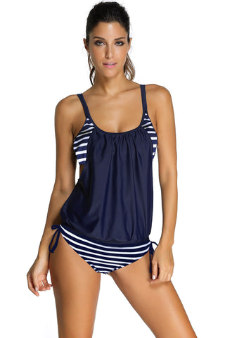 Navy Layered-Style Striped Tankini with Triangular Briefs