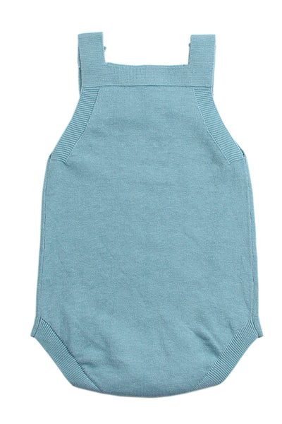 Light Blue Star Pattern Knitted Infant Romper Baby Wear