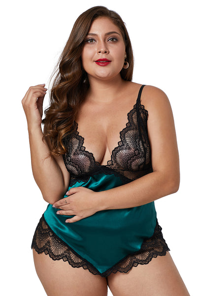 Green Lace Cups Silky Satin Plus Size Chemise