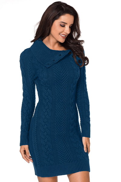 Asymmetric Buttoned Collar Biscay Bodycon Sweater Dress