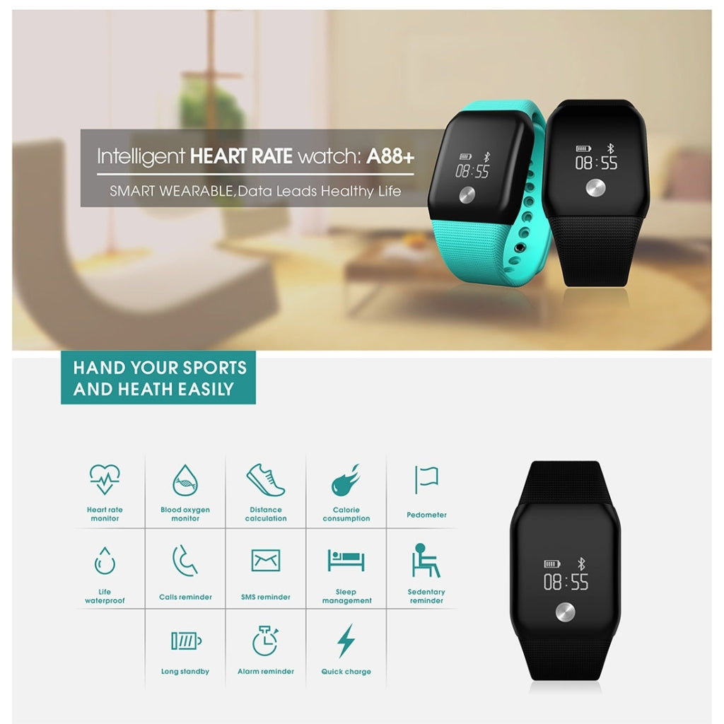 A88+ 0.66 inch OLED Touch Screen Bluetooth Smart Bracelet, Support Blood Oxygen Monitor