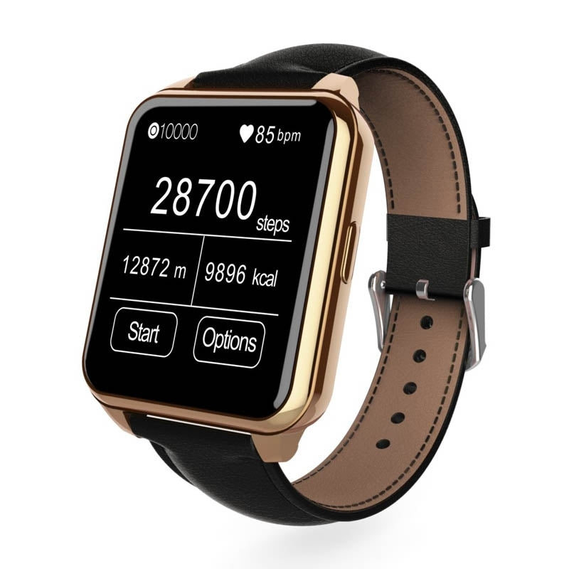 F2 1.55 inch IPS Full View HD LCD Screen Waterproof Smartwatch with Leather Band for Smartphone